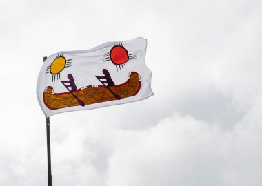Wabanaki/People of the Dawn flag by Pauline Young, which was unveiled at the Owens Art Gallery on the Mount Allison University campus on Sept. 30. The flag flies over the Gallery and is also part of the Gallery's permanent collection. Photo: Mathieu Léger