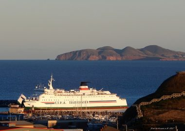 A photo of the ferry linking the Magdalen Islands to Prince Edward Island. The MV Madeleine