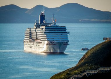A photo of an international cruise ship anchored near the Magdalen Islands