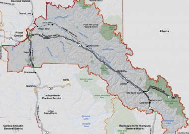 The image shows the boundaries for the electoral district of Prince George - Valemount.