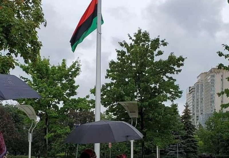 A group of people stand looking up a the Pan-African flag with a grey sky in the background.