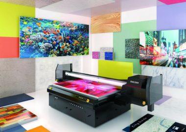 Ricoh printer in colourful, futuristic room
