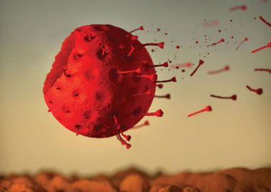 A graphic of a close up of the COVID-19 virus in the wind.