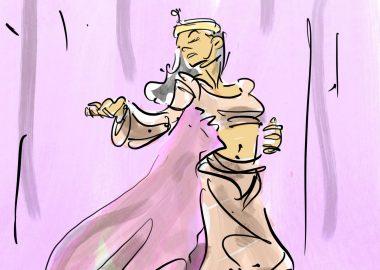 Une femme vêtue de vêtements violets et amples qui danse