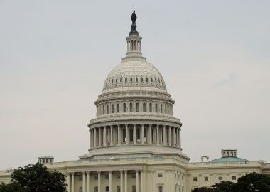 The Capitol building in Washington on a cloudy day