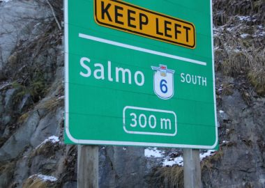 Highway sign en route to Salmo.