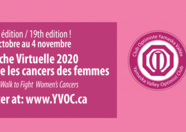 Pink advertisement for the virtual walk to fight women's cancer's.