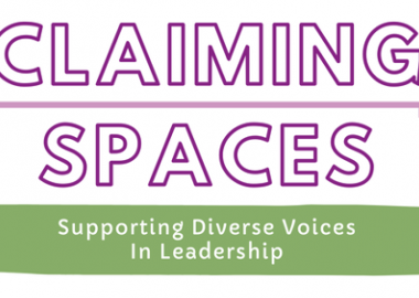 The Claiming Spaces poster for the Inspiring Women Among Us event.