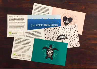 A look at four of the #messages4hope postcards.