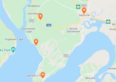 A Google Map of the four locations where robberies or attempted break-ins happened around Sackville this week.