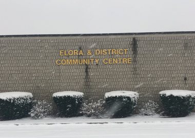 The front of the Elora & District Community Centre is the arena.