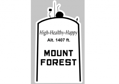 The black and white Mount Forest water tower sticker design.