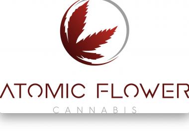 Le logo de l'entreprise, une feuille de cannabis rouge dans un cercle.
