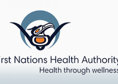 The black and orange and blue logo for the First Nations Health Authority