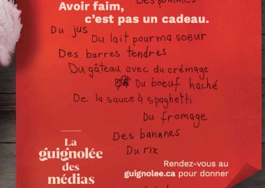 Affiche de La guignolée des médias, caractères noir et blanc sur fond rouge