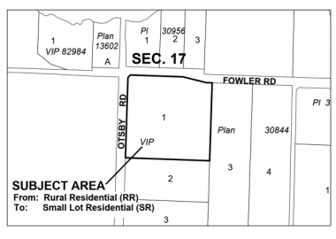 Map of the property proposed for subdivision on Hornby Island
