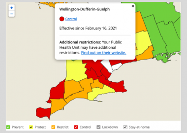 A red, yellow and green map of the Wellington-Dufferin-Guelph region's latest COVID-19 case count and designation