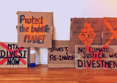 Signs prepared by Divest MTA for Friday's Global Climate Strike event. Image: Instagram post by Divest MTA