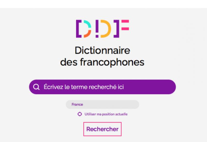 Impression écran de la page web du DDF. Les caractères sont de plusieurs couleurs: mauve, jaune pêche, vert et noir.