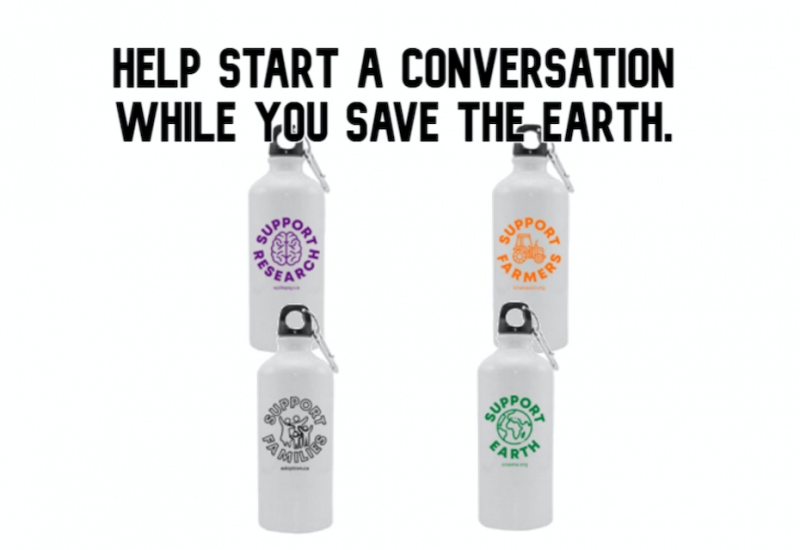 The four reusable water bottles designed by Grade 7/8 class at Hyland Heights ES in Shelburne, Ontario.