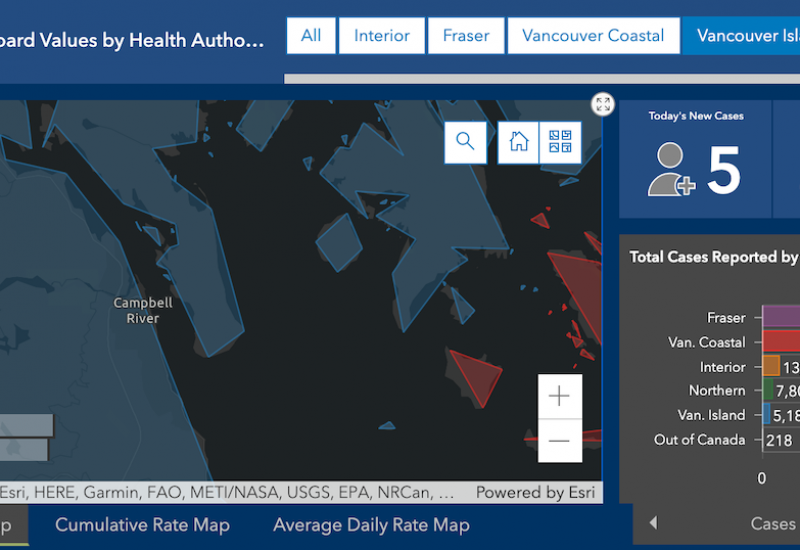 A blue, black, grey and red map of Campbell River and the neighbouring Discovery Islands with a chart on the right with recent COVID-19 case counts.