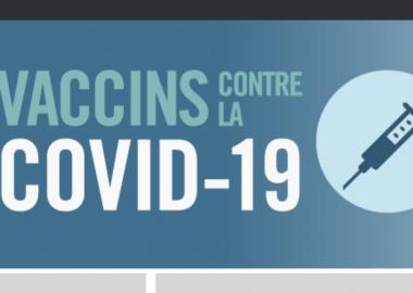 Bannière promotionnelle pour la vaccination contre la COVID-19 en bleu avec un logo d'une seringue