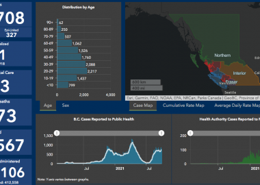 A map from the government of BC shows the rate of infection and covid-19 cases in all of BC