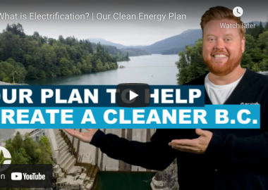 A screenshot of a Youtube video from BC Hydro's 'Electrify BC' program