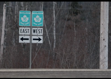 Two green and white signs along highway 16 point east and west witha forest behind