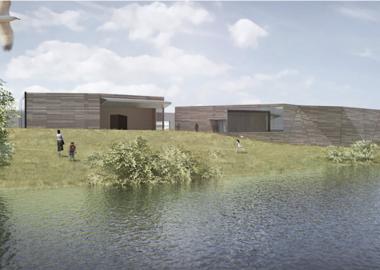 Un design graphique montre un long mur gris et brun le long d'une rivière sur une butte verte.