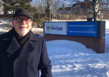 Councillor and mayoralty candidate Shawn Mesheau outside of the Sackville Memorial Hospital. Photo: Contributed.