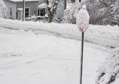 A snow covered stop sign and road after a snowstorm on Feb. 2 in southern Nova Scotia.