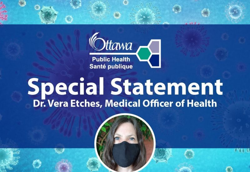 A blue online poster for a special statement from Ottawa Public Health