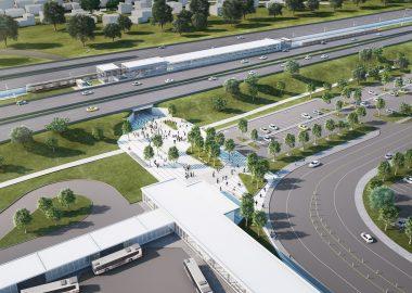 Une maquette de la station Panama avec son stationnement incitatif