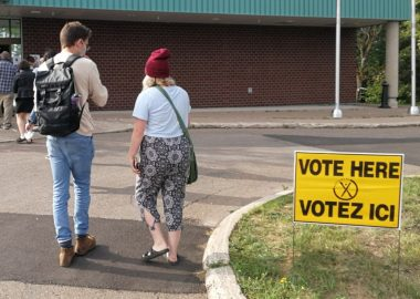 People lining up to vote in Sackville on September 14th, 2020. Photo: Erica Butler