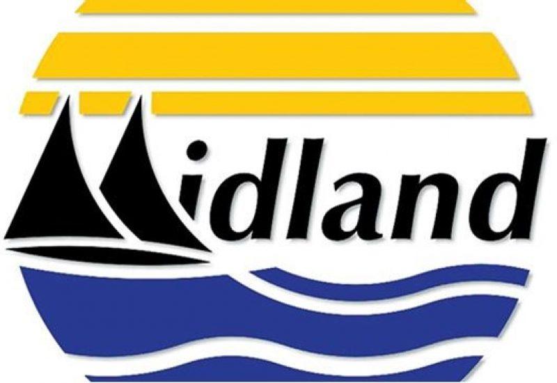 Logo de la ville de Midland l'eau en bleu et le ciel en jaune
