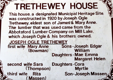 A photo of a sign outside of Trethewey House in Abbotsford, BC.
