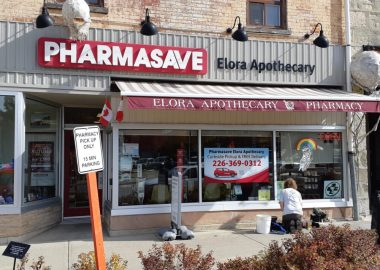 The storefront of Pharmasave Elora Apothecary in Elora, Ontario.