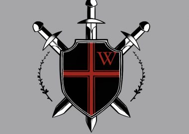 The black and red and white logo for the Warriors with three swords in a shield with a red cross and red letter 'w' in the right corner