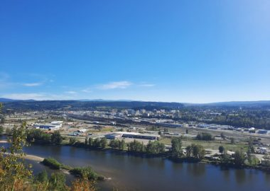 A view of downtown Prince George from atop the Nechako Cutbanks. Photo courtesy of