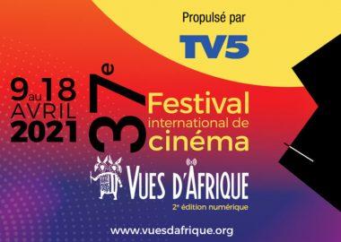 Affiche du Festival Vues d'Afrique caractères en blanc, noir, jaune, logo Vues d'Afrique et illustration noir et blanc