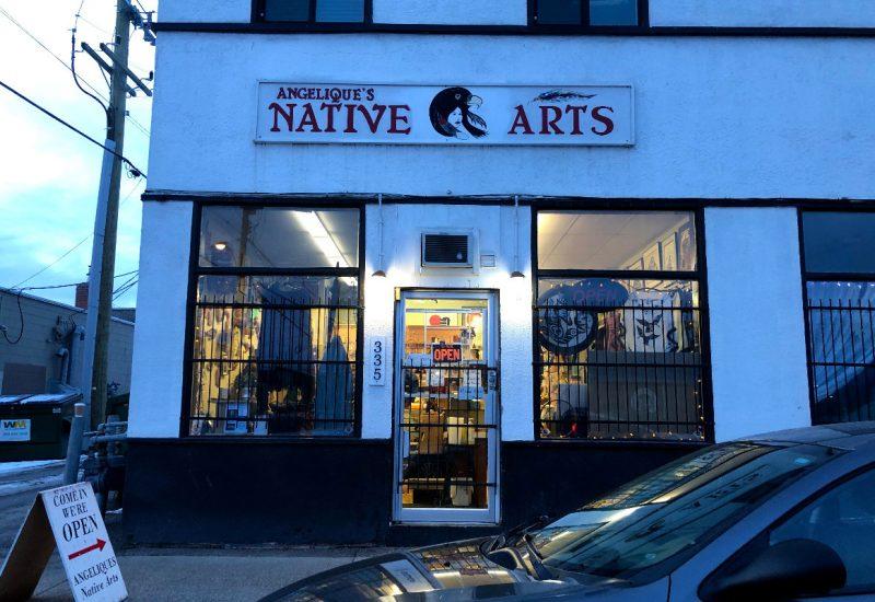 Angelique's Native Arts storefront at dusk.