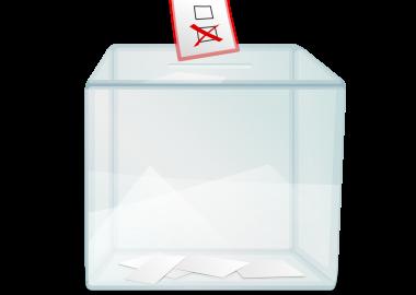 Urne de vote avec un scrutin que l'on fait glisser.