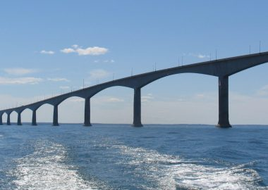 A photo of the Confederation Bridge. The bridge linking PEI and NB.