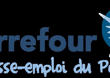 The logo of the Carrefour jeunesse-emploi du Pontiac, featuring a blue and white sun.
