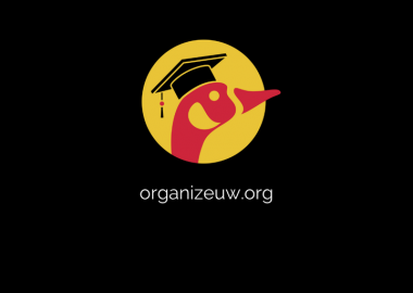 The logo for Organize UW.org. It is a profile drawing of a goose's head. The head is red and it has a black mortarboard on. There is a yellow circle behind the goose head and the larger background is all black. White text reading