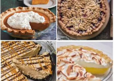 Sweet potato, bumbleberry, peanut butter and lemon meringue are just a few of the varieties of pies up for auction this Sunday. Photos: Sackville United Church on Facebook