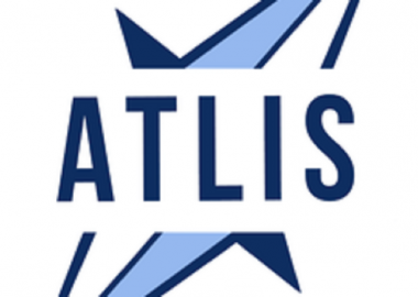 A blue and white logo reads