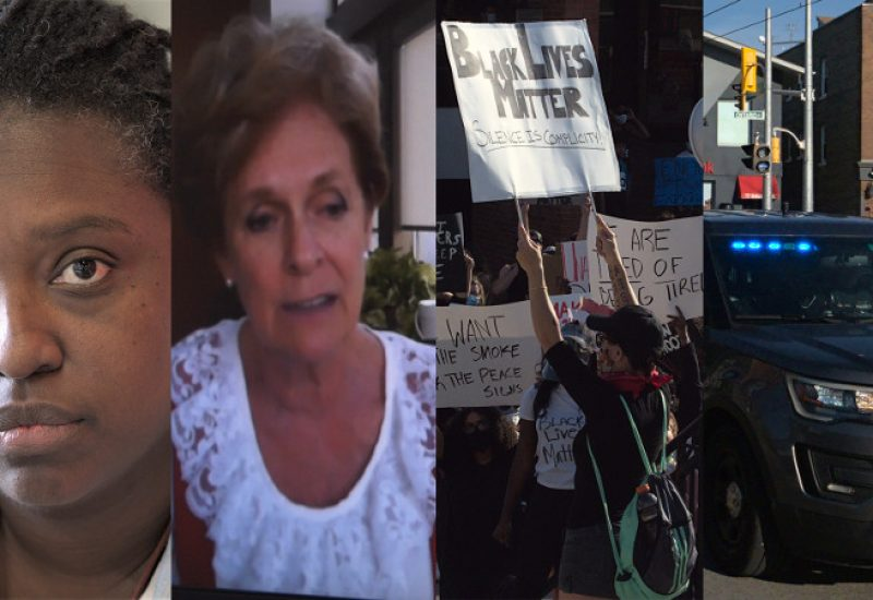 A collage of images: Headshots of Teniele Warren and Karen Redman. Picture of Black Lives Matter protest in Kitchener, a sign reading: