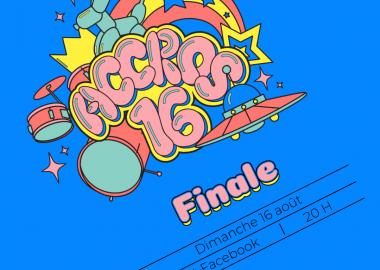 Une affiche bleue sur laquelle est écrite en rose « Accros 16 ». Une batterie, une soucoupe volante et des étoiles font aussi partie de l'affiche.